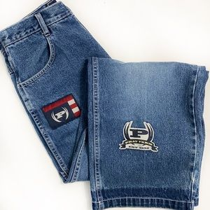 Phat Farm High Rise Wide Leg Patch Jeans